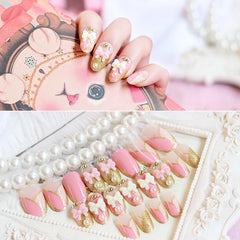 24pcs/set pink white bow Glitter rhinestone chain Nail Art False Fake Nail Tips Stickers With Glue