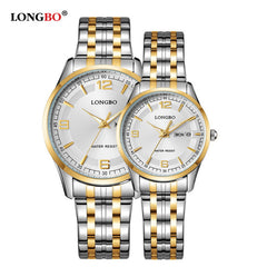 2017 New Brand LONGBO Luxury Lovers Couple Watches Date Day Waterproof Gold Stainless Steel Quartz Wristwatches