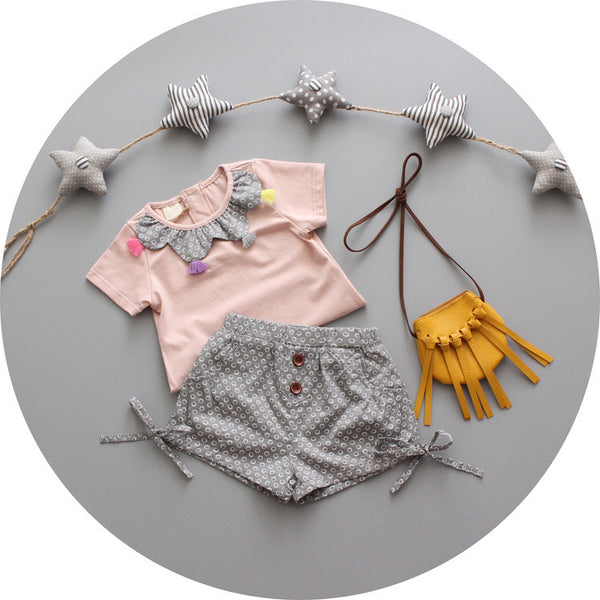 2016 casual style newborn girls clothing set 2pcs 100% cotton tassel t shirt+shorts infant girls clothes pink girls bow suits