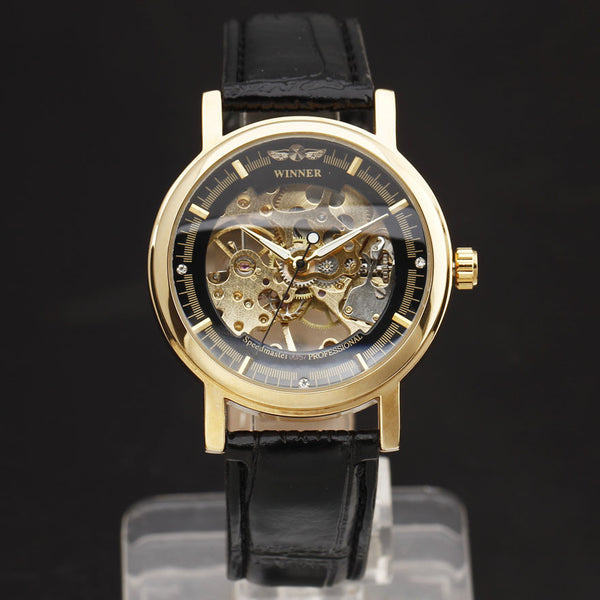 New Arrival Hand-Wind Skeleton Dial Genuine Leather Strap Wrist Mens Watch Classic Style Gift Clock