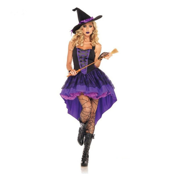 Adult Witch Costume Halloween Witch Dress Sexy Costumes For Women Halloween Christmas Costume Long Purple Swallowtail Dress