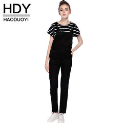 HDY Haoduoyi 2016 Fashion Women Black Solid Preppy style Pocket jumpsuits Casual Adjustable Overalls for wholesale