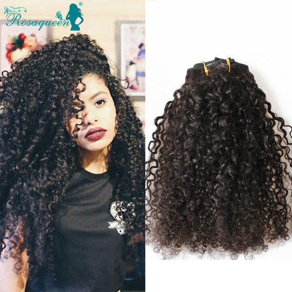 2017 Hot Sale Kinky Curly Clip In Hair Extensions Natural Hair 3B 3C Amazing African American Clip In Human Hair Extensions 120g 7Pcs/set Clip Ins Free Shipping
