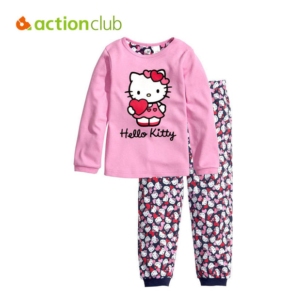 Kids girls clothes sets New 2016 children's winter clothing sets hello kitty cat fashion pajamas baby girls clothing set KS225