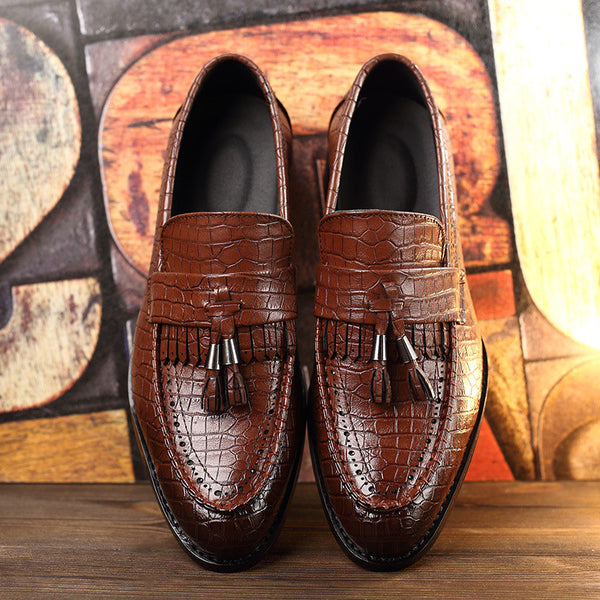 Tassel Men Oxford Shoes Mens Genuine Leather Crocodile Casual Shoes Luxury Dress Party Wedding Flats Shoes 3 colors 2016 New