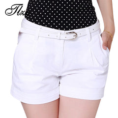 New Korea Summer Cotton Shorts for Women New Design Lady Casual Short Trousers Solid Color Khaki / White