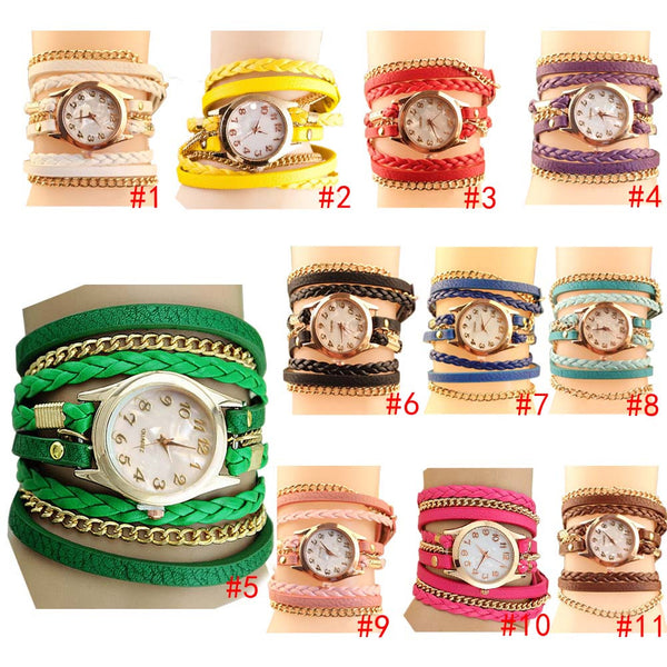 2017 New Korean Style Retro Bracelet Watches Casual Knit Long Leather Quartz Watch for Ladies