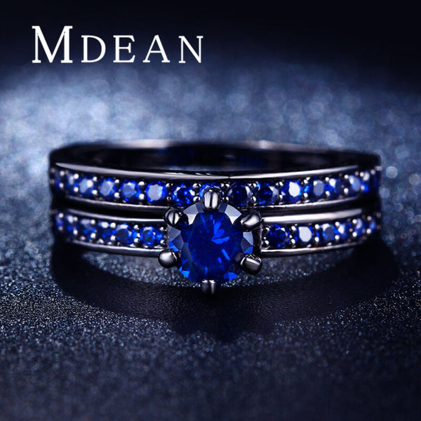 MDEAN Black Gold Plated rings for women AAA CZ diamond jewelry sapphire women rings Engagement wedding Ring Sets bague MSR214