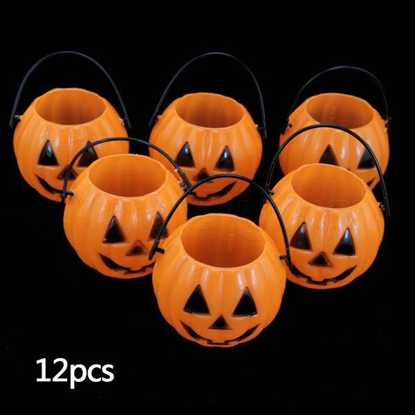 New Vintage Pumpkin Jack O Lantern Light Goodie Bucke Halloween 2016 Bar Decoration Christmas Party Supplies 12PCS