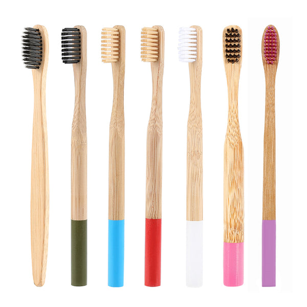 Drop Ship 7 Colors 1PC Bamboo Toothbrush Natural Bamboo Eco Friendly Soft Bristle Wooden Handle Tooth brush Travel Oral Care