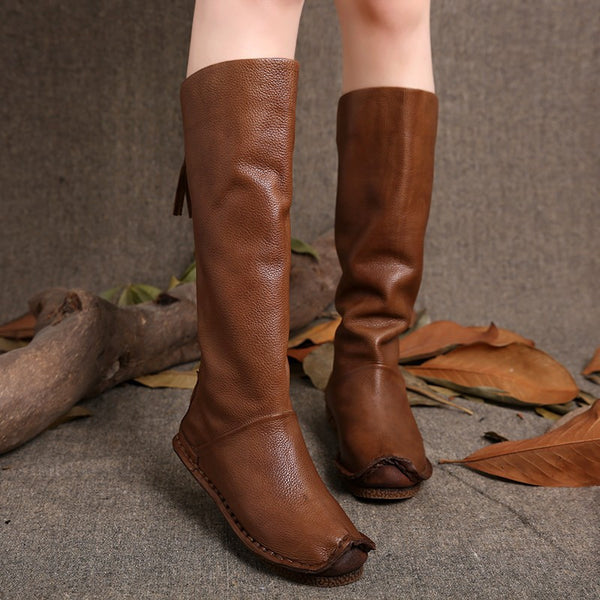 New Fashion Vintage Style Women Knee High Genuine Leather Boots Back Zip Handmade Shoes