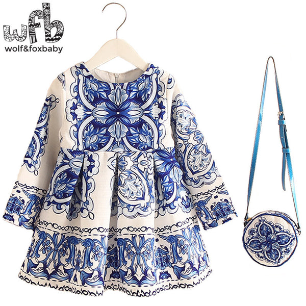 Retail 2-8years Dress+Bag/set New Cute Kids Baby Girl Summer Spring Fall Long-Sleeve Perfume Princess Flower China blue 2016