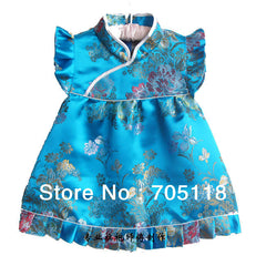 New Baby dress Infant Silk Jacquard Chinese Dress Boutique cheongsam for baby 4Month-3 years 12 opitions Free shipping  QZ-7