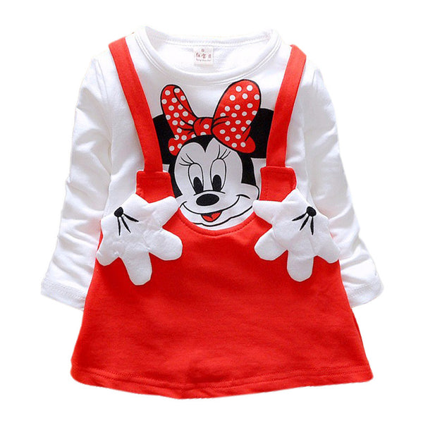 2016 Baby Girls Dress Cute Minnie Long Sleeve Spring Sport  Princess Style Party Clothing