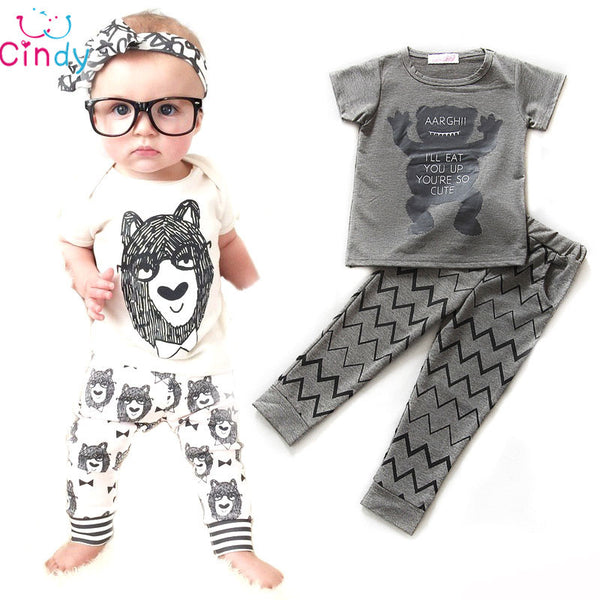 Retail 2016 summer style infant clothes baby clothing sets boy Cotton little monsters short sleeve 2pcs baby boy clothes