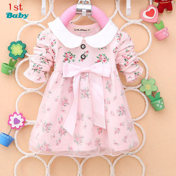 2014 Spring New Fashion Baby Girls Cotton Dress Big Bow Infants Nice Floral Dresses Free Shipping