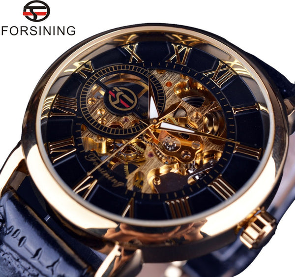 New Hot Sale Forsining 3d Logo Design Hollow Engraving Black Gold Case Leather Skeleton Mechanical Luxury Watch for Men