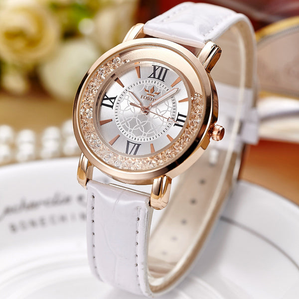 2017 New Hot Sale FORON Luxury Crystal Dress Watches Top Brand Fashion Quartz Genuine Leather Watch for Ladies