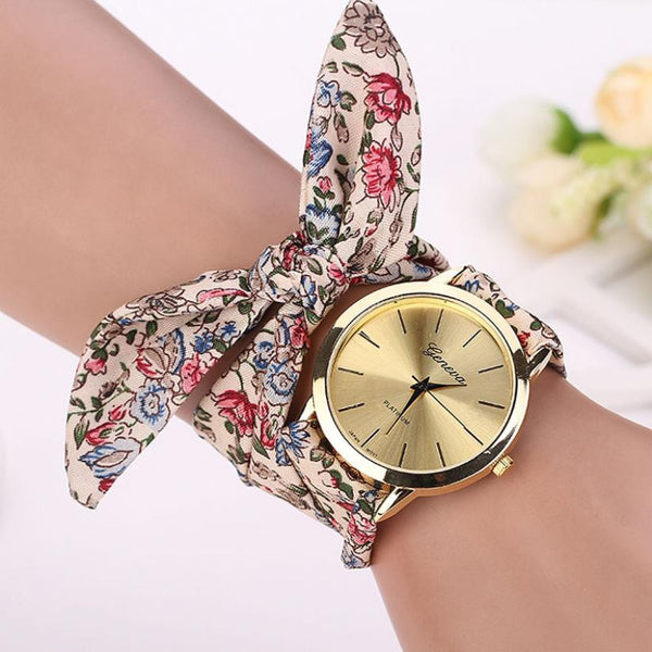 New Hot Sale Vogue Floral Strap Jacquard Cloth Quartz Geneva Relogio Feminino Bracelet Watches for Women