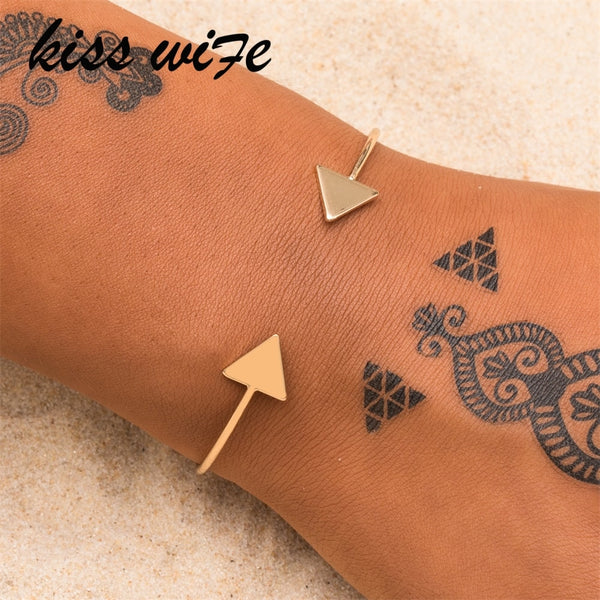 KISSWIFE Punk Arrow Bracelets & Bangles Fashion Gold Color Punk Open Bangle For Women Gift Cuff Bracelet