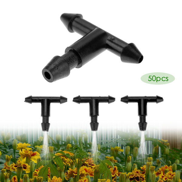 50pcs 3/5mm Garden Hose Sprinkler T Shape Three Hole Micro Drip Irrigation Pipe Barbed Connector Watering System Connection Part