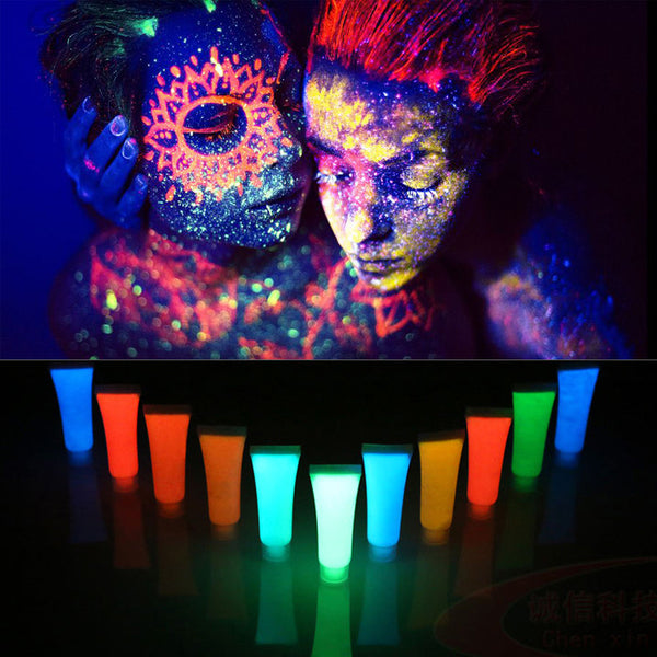 10PC Fancy Fluorescent Paint UV Glow Face Body Cream Party Clabwear Halloween Face Painting Acrylic Glow Kit Blacklight Reactive