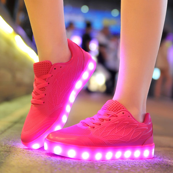 Light Up LED Luminous Recharge Adults Neon Basket Color Glowing Casual Shoes