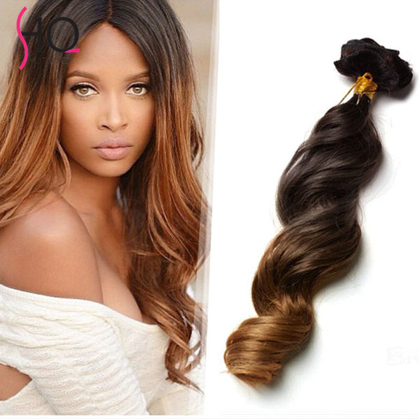 2017 Best Seller Two Tone Clip in Hair Extensions for Black Women Virgin Human Hair Clip-Ins 7pcs 10pcs Hot Sale