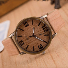 New Arrival Casual Wooden Color Leather Strap Wood Mens Wristwatch Relogio Masculino