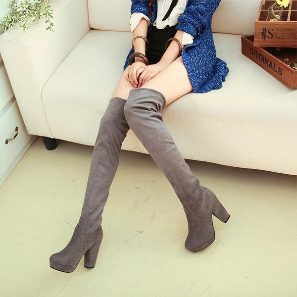 New Arrival Autumn Over The Knee Boots Thick Heel Nubuck Suede Leather Womens Fashion Boots