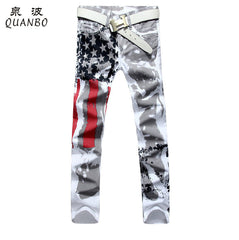 New Arrival White Printed Fashion Mens Slim Stretch Printing American Flag Jeans Hombre - Big Size 28-48
