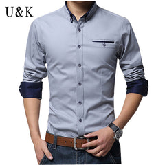 Men Dress Shirt 2016 Hot Men's Slim Fit Long Sleeve Shirts Chemise Homme Camisas Mens Clothing Solid Patchwork Dress Shirts K307