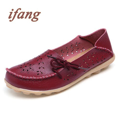 New Summer Cut Out Genuine Leather Flat Flexible Round Toe Nurse Casual Loafer Shoes for Women