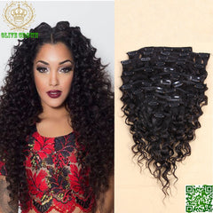 New Best Seller Curly Brazilian Virgin Full Head Human Hair Extensions Clips Ins 7pcs/set 9pcs/Set