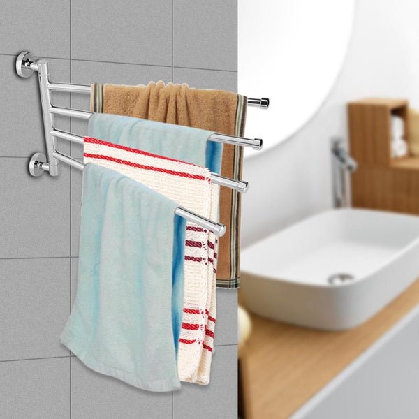 Stainless Steel Towel Holder Rotating Towel Wall Mounted Hanger Hook Organizer Home Bathroom Holder Accessory Towel Rack storage