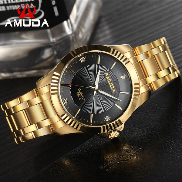 2017 New Fashion NATATE AMUDA Clock Gold Full Gold Stainless Steel Quartz Watches for Men