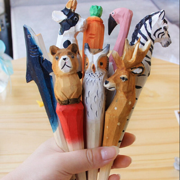 50pcs/lot Handmade Ballpoint Pen Lovely Artificial Wood Carving Animal ball pen Creative Arts blue pens 2018 gift New many color
