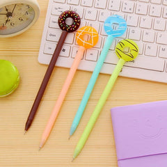 2018 New Cartoon Donuts Gel Pens Cute Writing Pen Children School Stationery Award Gift Halloween Party Favor