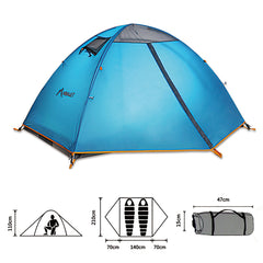 2 Person Outdoor Waterproof Camping Tent Family Picnic Beach Tent Double Layer For Hiking Fishing Climbing