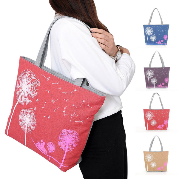 New Fashion Dandelion Canvas Bag Flowers Women Handbag Shoulder Bags Women Messenger Bags