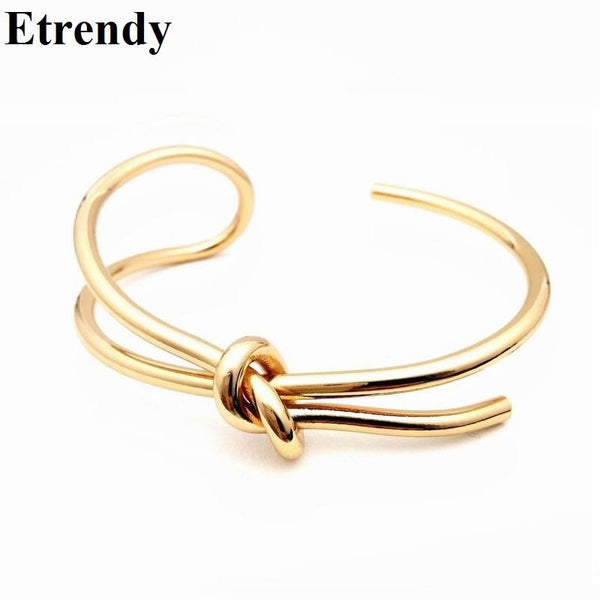 Simple Handmade New Fashion Open Bracelet Adjustable Trendy Jewelry Gold Plated Cuff Bracelets & Bangles For Women Rock Bijoux