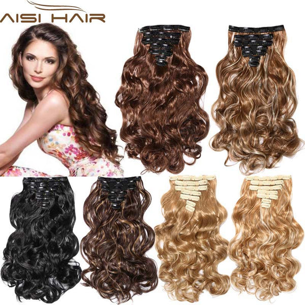 New Arrival 16 Clips Clip in Hair Extensions Synthetic Hair Apply Hairpiece 20
