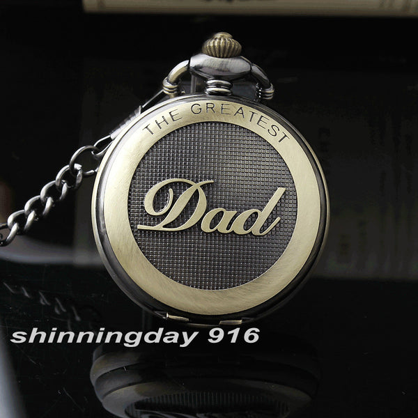2017 Hot Sale Bronze The Greatest Dad Round Dial Quartz Pocket Pendant FOB Chain Men's Watch
