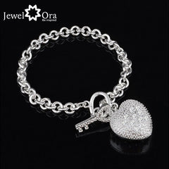 Fashion Heart  Accessories 20cm Silver Bracelets & Bangles For Women New 2015 (Jewelora BA101228)