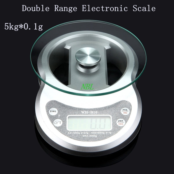 New Arrival 5kg*0.1g Double Range Best Electronic Scale 5000g/0.1g Digital Kitchen Scales Food Weight Balance With Package