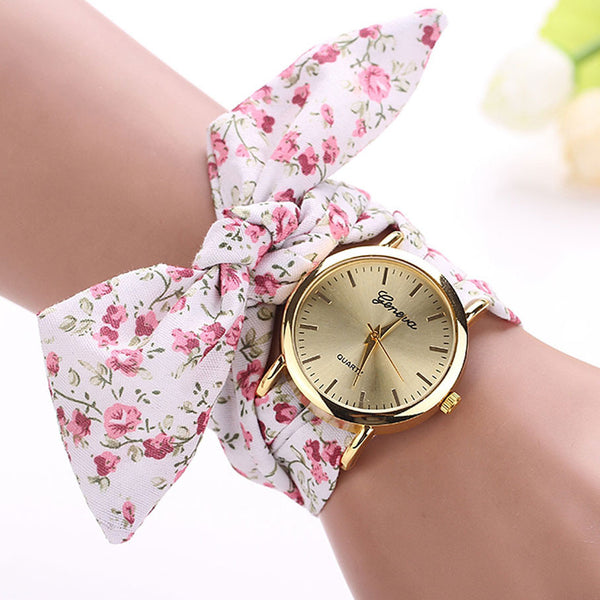New Arrival Gold Fashion Casual Fabric Flower Quartz Relogio Feminino Bracelet Watch and Women Dress Watch