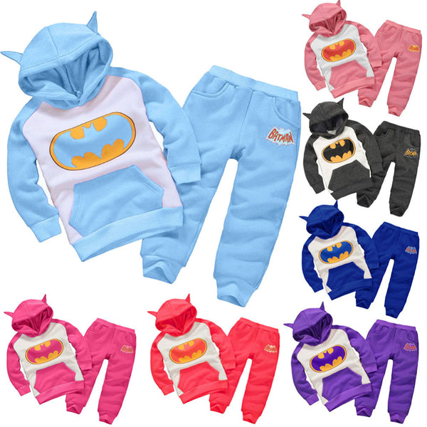 Baby Batman Clothing Set Children Sport Hoodies Pants Boys Girls Thicken Winter Warm Clothes Outfits for 1-4Y Kids