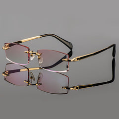 2015 Phantom trimming titanium eyewear male models diamond trimming Gold rimless finished prescription Frame glasses for Men