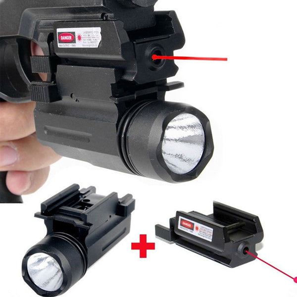 Tactical Red Dot Laser Sight with LED Flashlight Combo Hunting Laser for Pistol Guns Glock 17,19, 22 Series