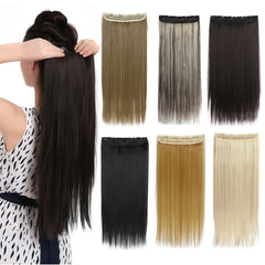 New Arrival 1Pc Clip In Hair Extensions Synthetic Hair Extension One Piece Full Head Straight Natural Hairpiece Good Gifts Free Shipping